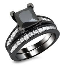 princess cut black engagement rings noori 14k black gold 2 1 2ct tdw certified princess cut black