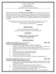 art education teacher resume or cv example with education