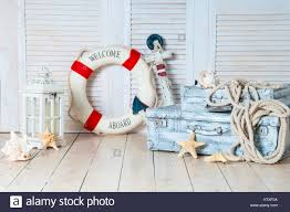 Travel Decor Decor In The Style Of Sea Travel Suitcases And Anchor Lifebuoy