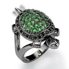 black rhodium engagement rings black rhodium plated green and black cubic zirconia turtle