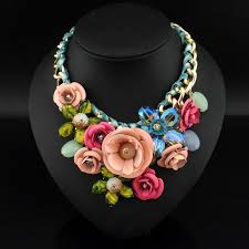 coloured flower necklace images Metal flower necklace images jpg