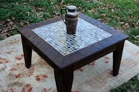 Outdoor Round Patio Table Incredible Outdoor Side Table Mosaic Evergreen 21 5 Blue And Green