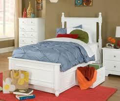 white twin or full size bed with under storage drawers