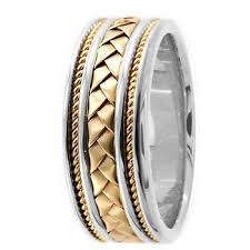 braided wedding bands braided 18k two tone gold weave wedding band comfort fit