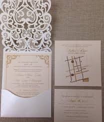 pocket fold invitations white and blush pink laser cut wedding pocket fold