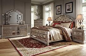 amazon com ashley birlanny mirrored panel bedroom set queen