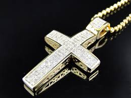 gold cross necklace pendants images Mini genuine 0 75 ct diamond cross pendant chain in 10k yellow jpg
