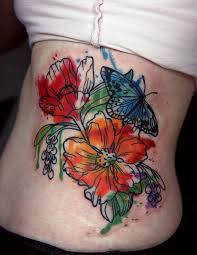flower rib watercolor tattoo butterfly leaves tattoos pinterest