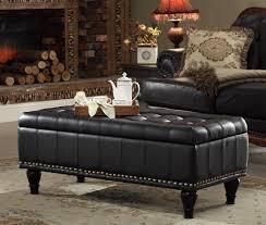 Black Leather Storage Ottoman Coffee Table Black Ottoman Round Coffee Table Circle Storage