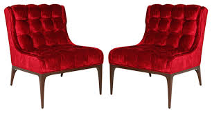 Traditional Armchairs Biscuit Tufted Red Velvet Chair Tufted Slipper Chairs Traditional