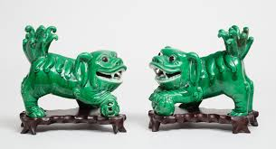 green foo dogs pair of antique green glazed foo dogs