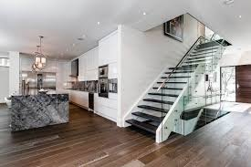 modern stairs glass wood and metal kitchen entrance latest