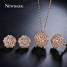 trendy flower necklace images Newbark romantic trendy set jewelry flower design water drop cz jpg