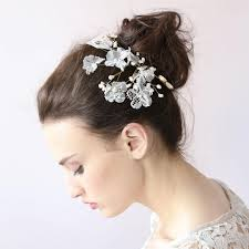 white flower hair clip lace sparkle leaf hair clip hair