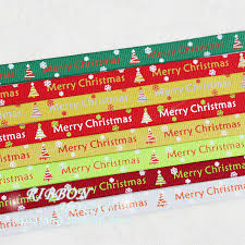 christmas ribbons merry christmas letter printed satin ribbons 10mm 2 meters green