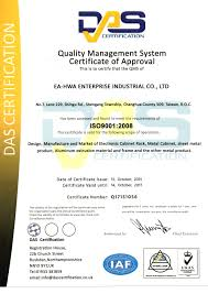 Cabinet Certification Our Certification Ea Hwa Enterprise Industrial Co Ltd