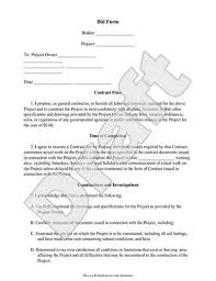 bid form bid proposal template for contractor u0026 construction