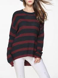stripes casual knitted high low plus size sweater justfashionnow