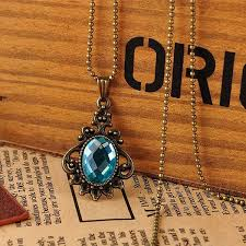 vintage crystal pendant necklace images Diy vintage bronze crystal pendant necklace long chain handmade jpg