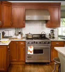 white subway tile cherry cabinets google search kitchen ideas