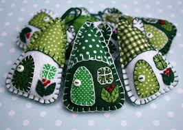 felt ornaments handmade cottages green and white