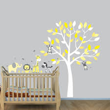 jungle wall stickers with elephant decals for yellow nursery
