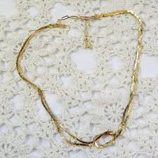 double gold necklace images Gold chain knot vintage necklace by adrien mann jpg
