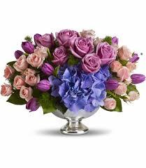 elegance teleflora u0027s purple elegance centerpiece in castleton on hudson ny