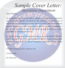 Sample Of Operations Production Cover Letter Cover Letter Free Samples Operations And Purchase
