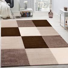 Wohnzimmer Design Modern Teppich Modern Wohnzimmer Kurzflor Karo Design Braun Beige Creme