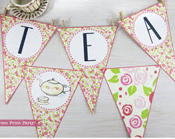 Tea Party Decorations For Adults Tea Party Banner Etsy