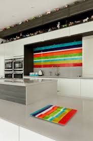 37 best kitchen backsplash images on pinterest kitchen a vibrant striped bespoke fused glass kitchen splashback with matching glass platter