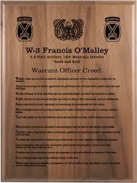 retirement plaque warrant officer creed walnut plaque army creed retirement plaques