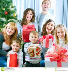 happy family celebrating gifts royalty free stock
