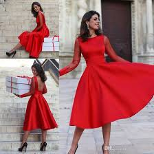 2017 sheer long sleeves red homecoming dresses a line jewel neck