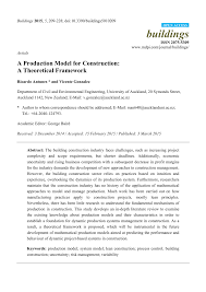 a production model for construction a theoretical framework pdf