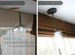 Replace Can Light With Pendant Convert Can Light To Pendant Easily Change Recessed Decorative