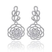 dangling diamond earrings dangle flower leaf diamond earrings 2 35ct 14k gold
