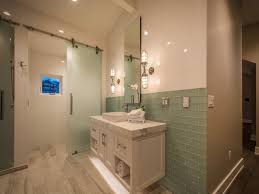 shower with frosted glass barn door modern bathroom
