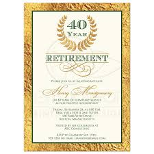 40 year retirement party invitation laurel wreath
