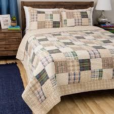 king size quilt set vintage country farmhouse style plaid print