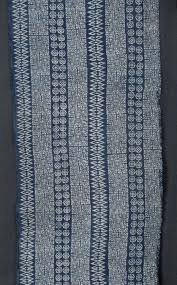 hmong indigo batik cotton textile gray toned fabric runner
