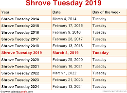Which Date Is When Is Shrove Tuesday 2019 2020 Dates Of Shrove Tuesday