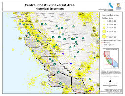 Washington State Earthquake Map by The Great California Shakeout Central Coast Area
