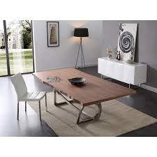stainless steel dining room tables addy modern walnut stainless steel dining table