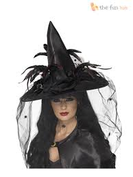 ladies deluxe witch hat feathers spider witches halloween fancy