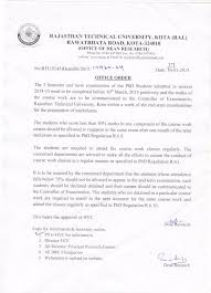 PhD   Rajasthan Technical University     Office Order for PhD Ist Semester students