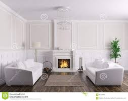 classic interior living room with sofas and fireplace 3d rend