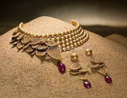 gold choker necklace set images Designer gold beaded choker set initial latter 39 s necklace jpg