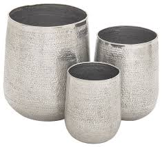 Indoor Plant Vases Aluminum Planters 3 Piece Set Contemporary Indoor Pots And
